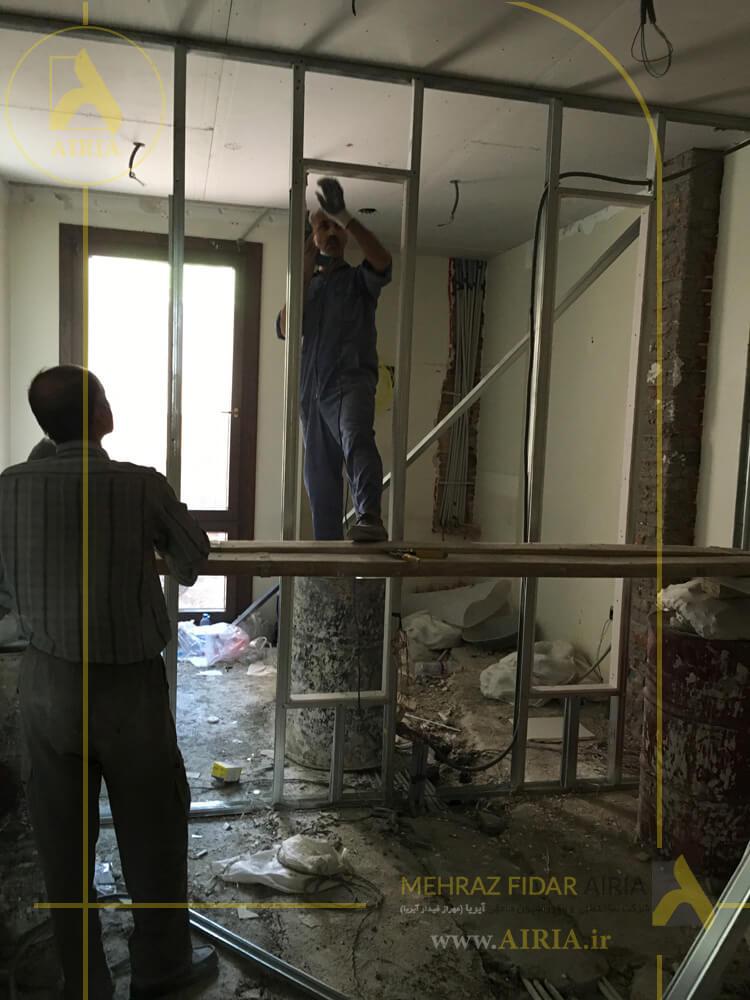 اجرای کناف در بازسازی و اجرای دکوراسیون داخلی اتاق حسابداری دفتر کار در تهران -الهیه