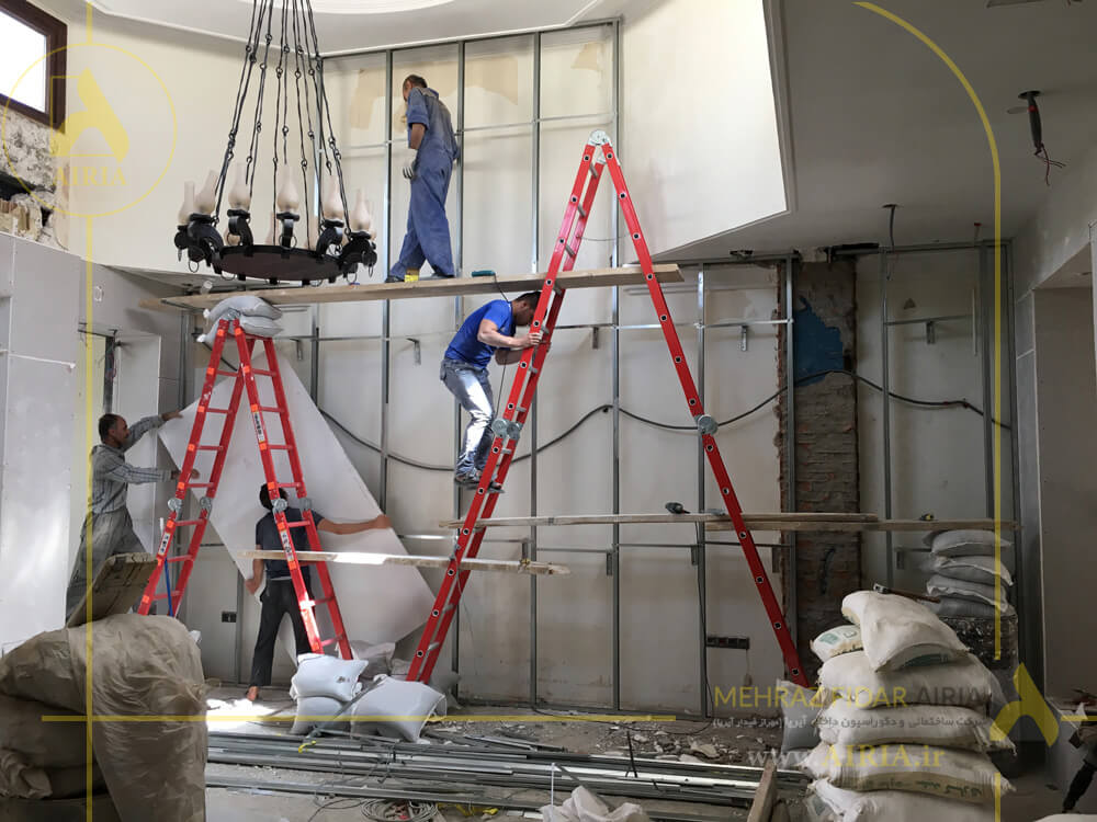 اجرای کناف دیواره دکوراتیو در سالن انتظار دفتر کار اداری در تهران -الهیه