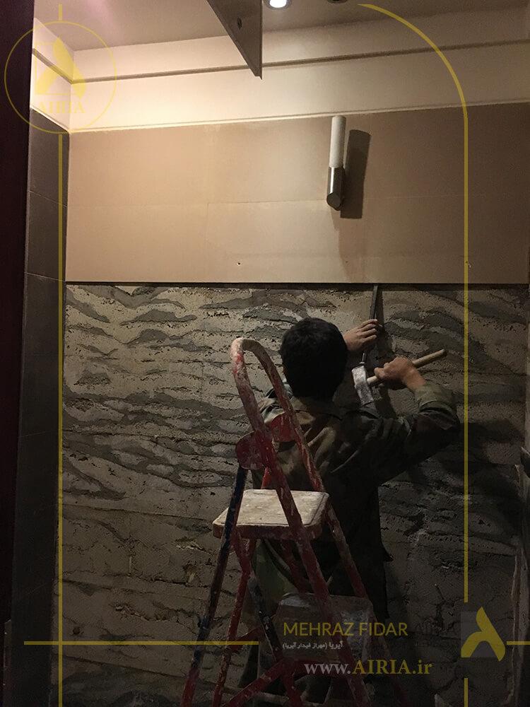 تخریب دیوارها در بازسازی سرویس مشترک دفتر کار اداری در تهران - الهیه