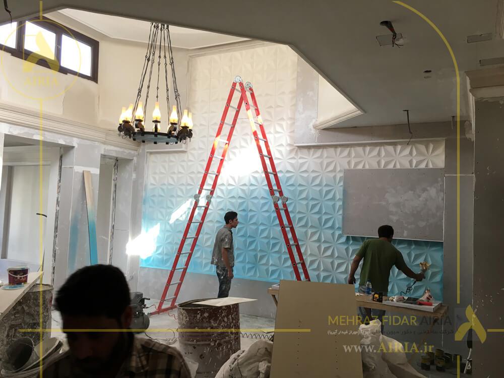 رنگ آمیزی تری دی وال پنل در سالن انتظار دفتر کار اداری در تهران -الهیه
