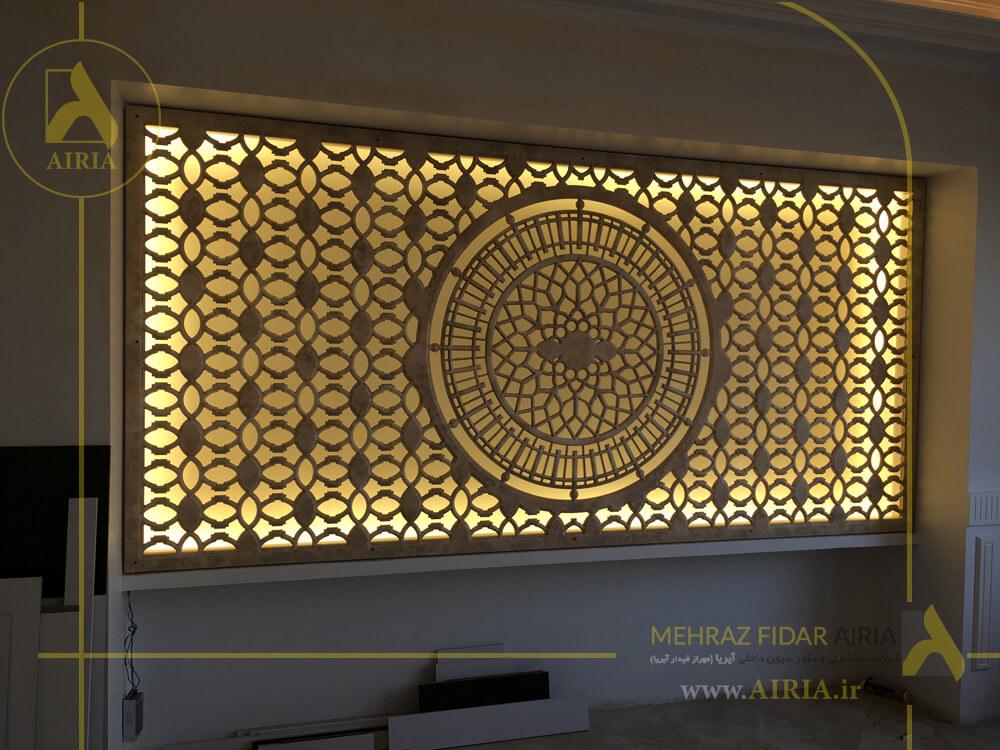 نصب دکور در اجرای دکوراسیون داخلی اتاق مدیریت دفتر کار در تهران - الهیه