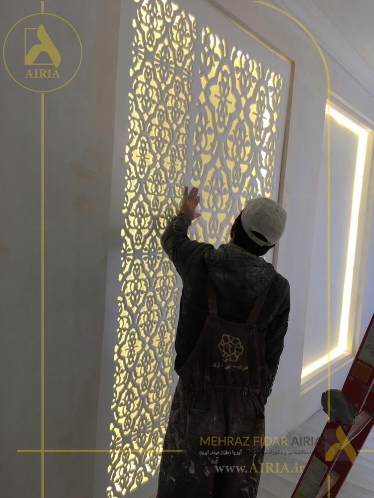 نصب دیواره دکوراتیو در اتاق جلسات در اجرای دکوراسیون داخلی دفتر کار در تهران - الهیه