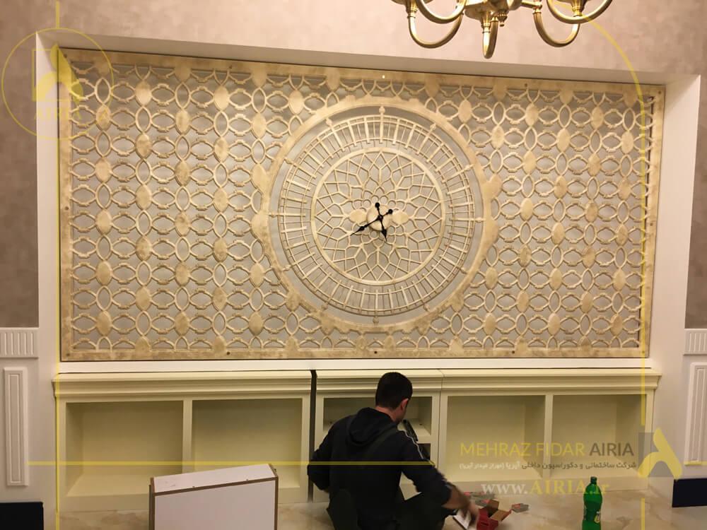 نصب ساعت در اجرای دکوراسیون داخلی اتاق مدیریت دفتر کار در تهران - الهیه