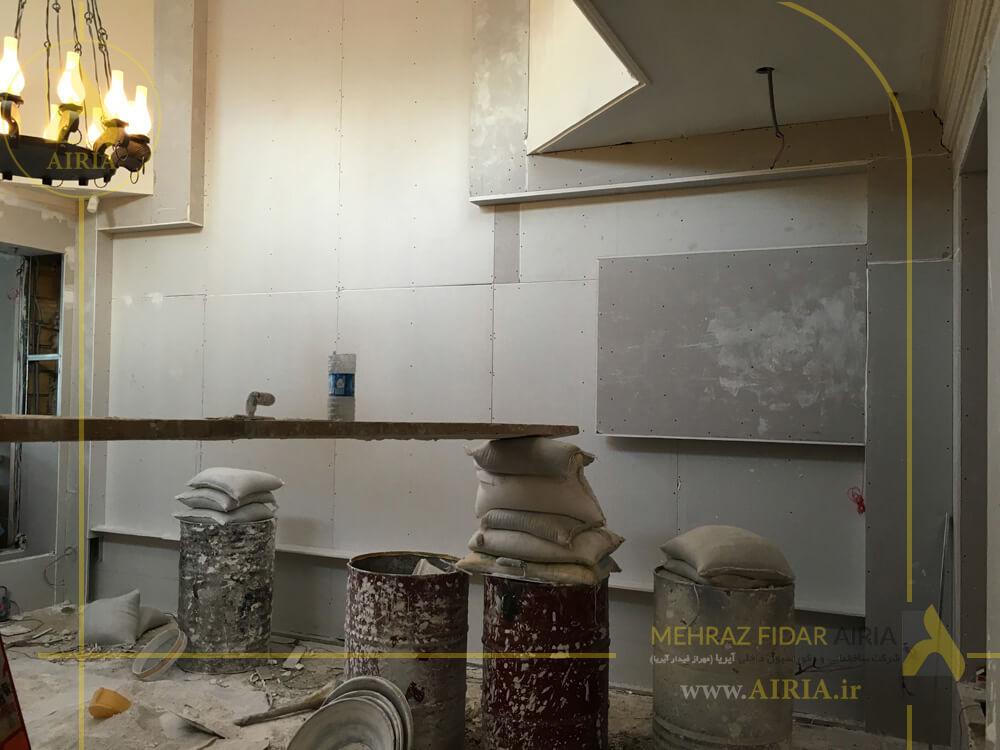 کناف اجرا شده دیواره دکوراتیو در سالن انتظار دفتر کار اداری در تهران -الهیه