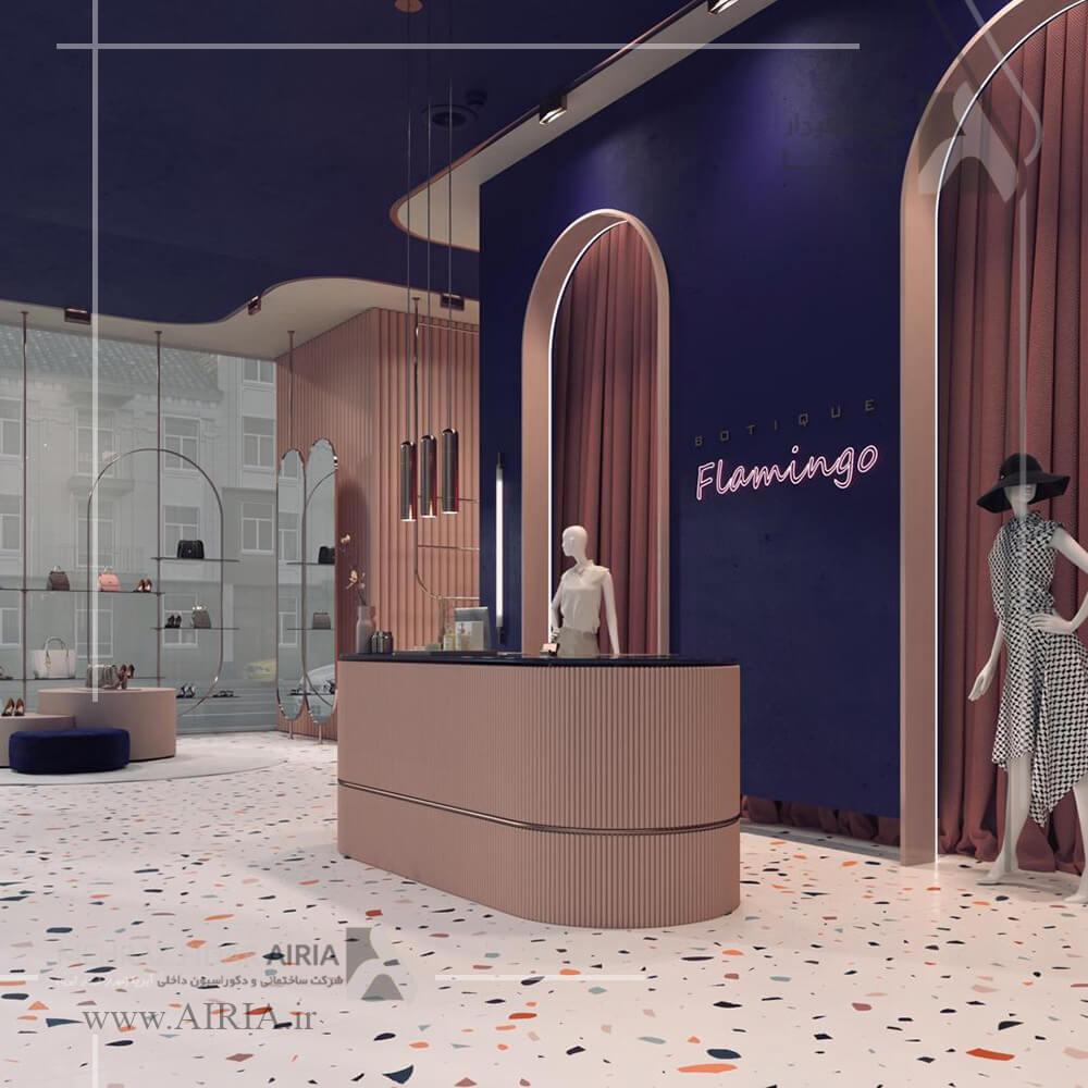 طراحی میز کانتر صندوق در طراحی ویترین طراحی دکوراسیون داخلی بوتیک زنانه در شمال تهران-پاساژ رویال سعادت آباد