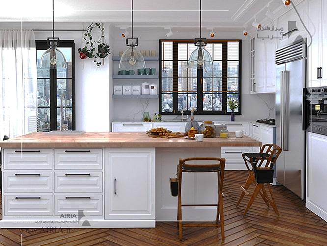 رنگ سفید پولی اورتان برای کابینت آشپزخانه