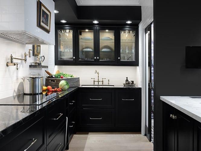 رنگ سیاه کابینت آشپزخانه