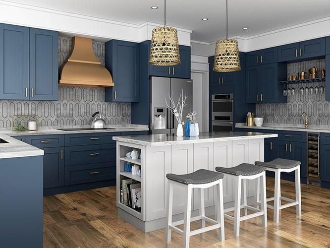 رنگ کابینت آشپزخانه آبی تیره