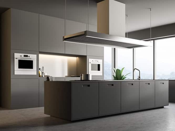 کابینت آشپزخانه با رنگ خاکستری روشن یا رنگ فیلی