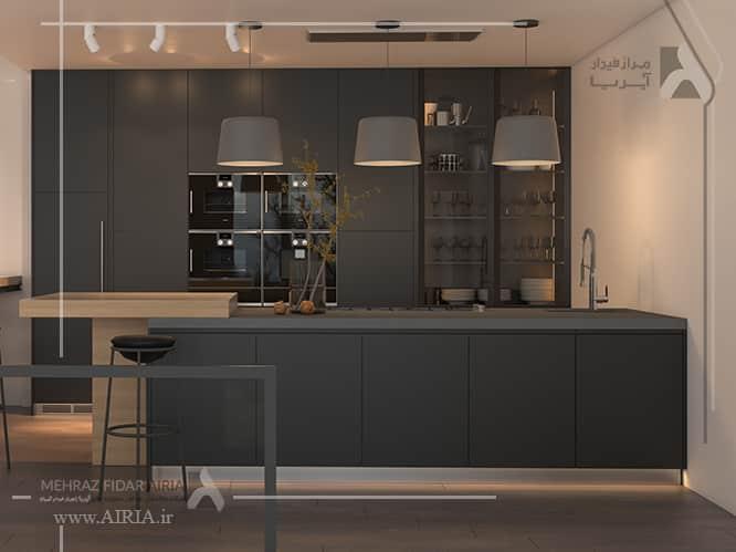 کابینت آشپزخانه با رنگ طوسی تیره