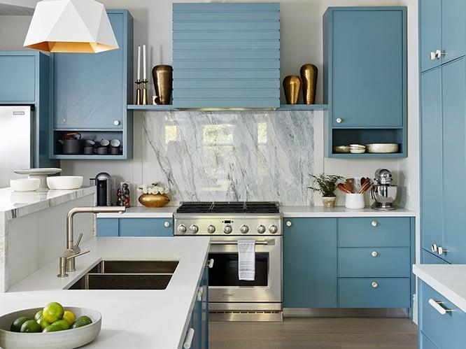 کابینت آشپزخانه رنگ آبی روشن