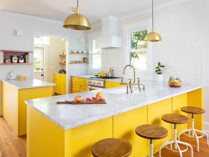 کابینت آشپزخانه زرد رنگ