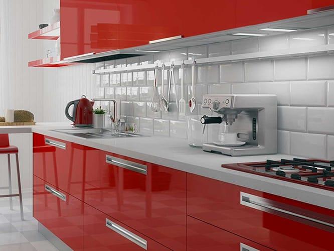 کابینت آشپزخانه قرمز رنگ